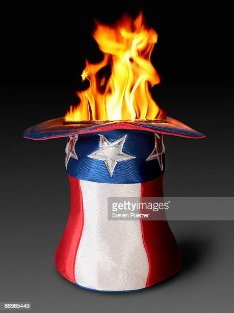 Fire coming out of Uncle Sam hat