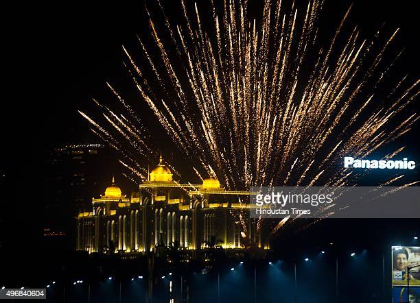 Fire Crackers bursting on the occasion of Diwali the festival of Lights at Marine Drive on November 11 2015 in Mumbai India Diwali is an ancient...