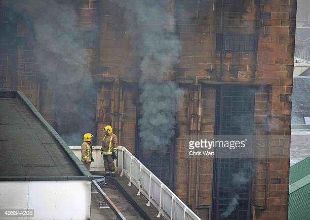 Fire crews tackle a fire at the Glasgow School of Art Charles Rennie Mackintosh Building on May 23 2014 in Glasgow Scotland The fire at the Alisted...
