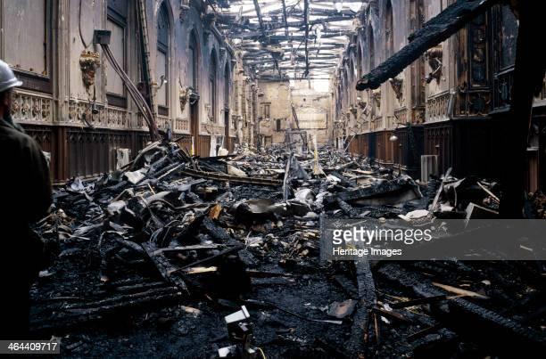 Fire damage at St George's Hall, Windsor Castle, Windsor, Berkshire, November, 1992.