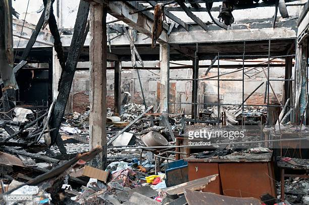 Fire Damage In A Burnt Out Building