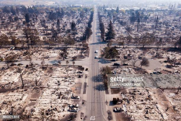 Fire damage is seen from the air in the Coffey Park neighborhood October 11 in Santa Rosa California More than 200 fire engines and firefighting...