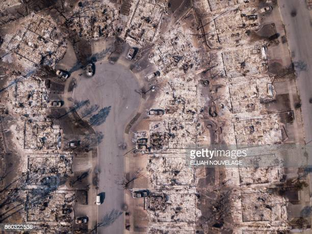 TOPSHOT Fire damage is seen from the air in the Coffey Park neighborhood on October 11 in Santa Rosa California More than 200 fire engines and...