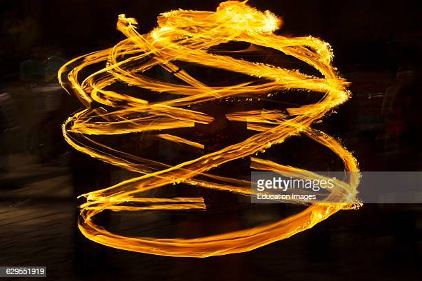 A Fire Dancer Performs On The Street During Guelaguetza Festival In July Oaxaca Mexico