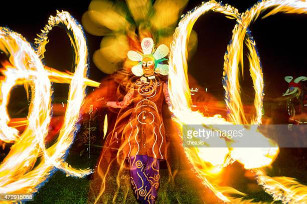 fire dancers at the beltane fire festival, edinburgh - beltane fire festival stock pictures, royalty-free photos & images