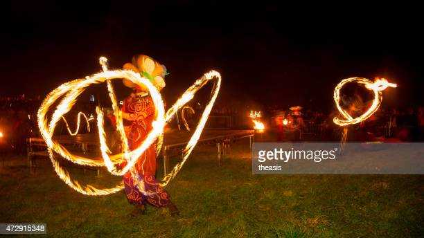 fire dancers at the beltane fire festival, edinburgh - theasis stock pictures, royalty-free photos & images