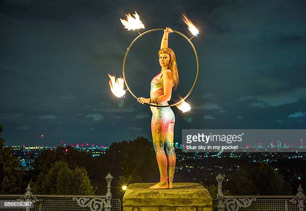 Fire dancers in the night