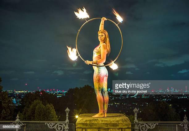 Fire dancers in the night