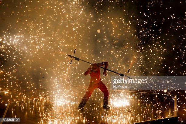 Fire dancers perform athletically during the creation of the legendary giant Simurg during the Closing Ceremony of the inaugural European Games at at...