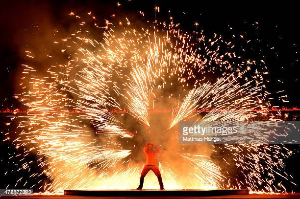Fire dancers perform during the Closing Ceremony for the Baku 2015 European Games at Olympic Stadium on June 28 2015 in Baku Azerbaijan
