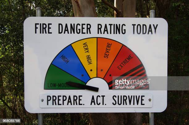 fire danger rating today sign - bushfires stock photos and pictures