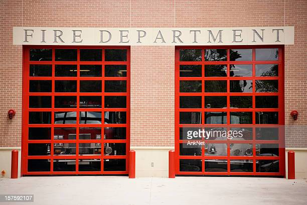 fire department gate and sign - fire station stock photos and pictures