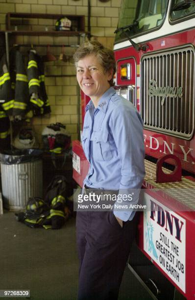 Fire Department Lt Brenda Berkman of Ladder 12 leans up against a truck on her last day at the station house on W 19th St Her upcoming promotion will...