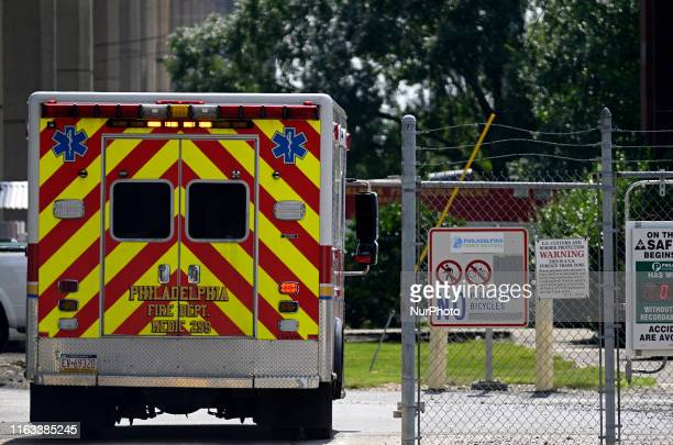 A Fire Department Medic arrives at Philadelphia Energy Solutions on August 8 2019