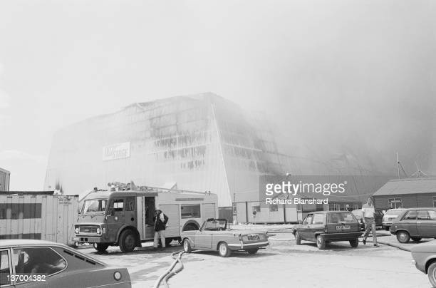 A fire destroys the 007 sound stage at Pinewood Studios in Buckinghamshire 27th June 1984 The fire was caused by a gas explosion