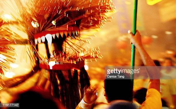 Fire dragon dance in mid autumn festival