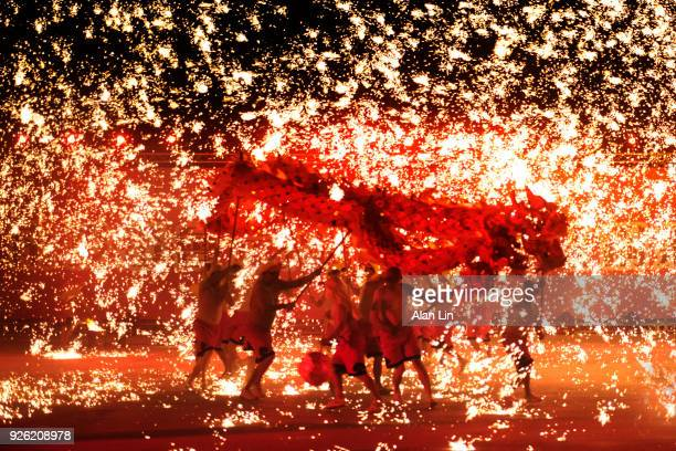 fire dragon from chongqing - chinese new year stock pictures, royalty-free photos & images