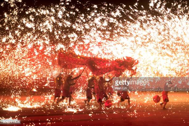 fire dragon from chongqing - dragon stock photos and pictures