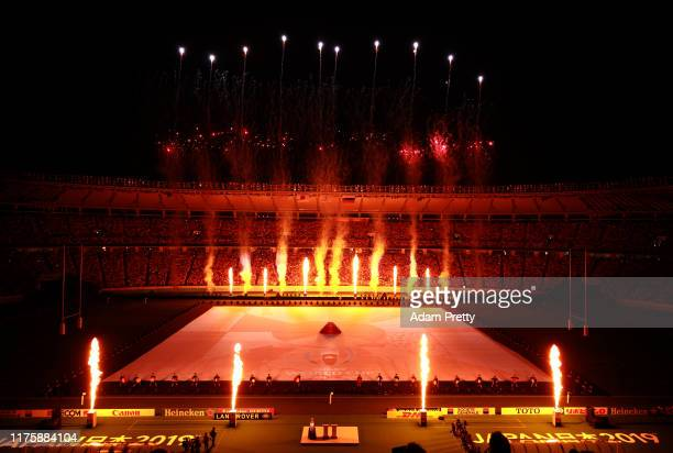 Fire during the opening ceremony prior to the Rugby World Cup 2019 Group A game between Japan and Russia at the Tokyo Stadium on September 20 2019 in...