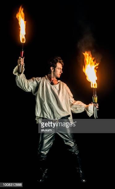 Fire eater doing fire performance
