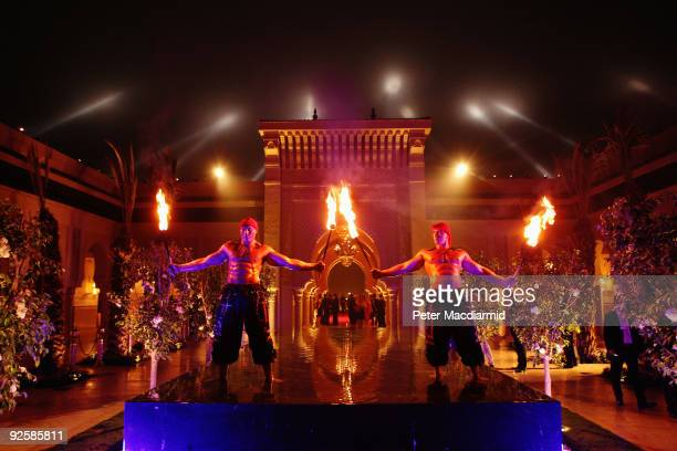 Fire eaters perform at the grand opening night of the Kerzner Mazagan Beach Resort on October 31 2009 in El Jadida Morocco 1500 guest guests will be...