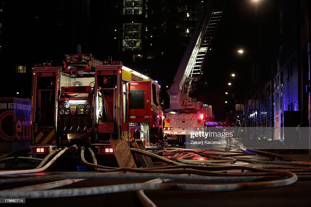 Fire Emergency Services attend the scene of a fire in O'Connor Street, Chippendale, a mixed residential and commercial area, on September 6, 2013 in Sydney, Australia.