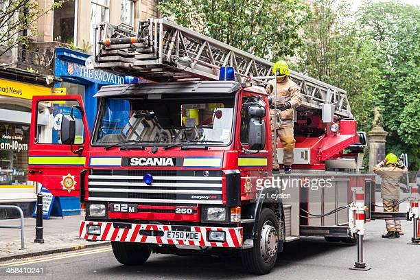 Fire Engine in action, Edinburgh, Scotland