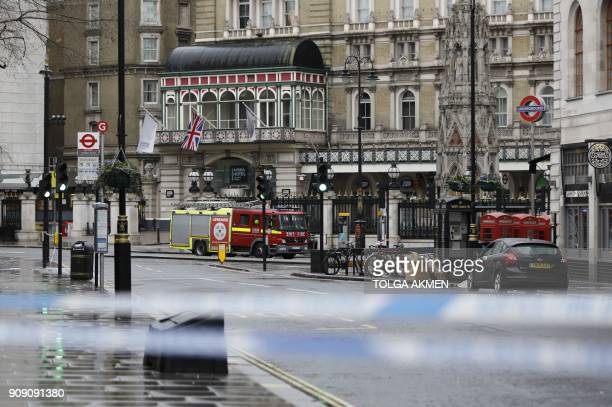 A fire engine is seen beyond a police cordon outside Charing Cross railway station in London on January 23 2018 following a gas leak Almost 1500...