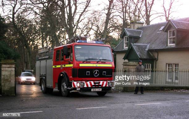 A fire engine leaves Skibo Castle after a golf buggy caught fire at the wedding of American actress Ashley Judd and racing driver Dario Franchitti...