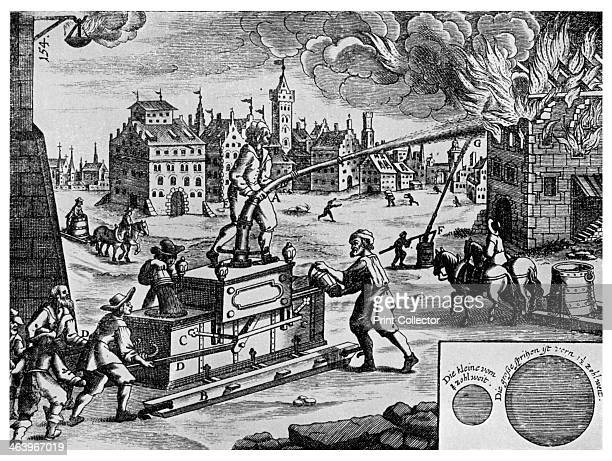 Fire engine on a sledge 1662 A print from Things a volume about the origin and early history of many things common and less common essential and...