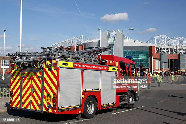 A Fire Engine waits outside the stadium following a security alert and subsequent match abandonment prior to the Barclays Premier League match...