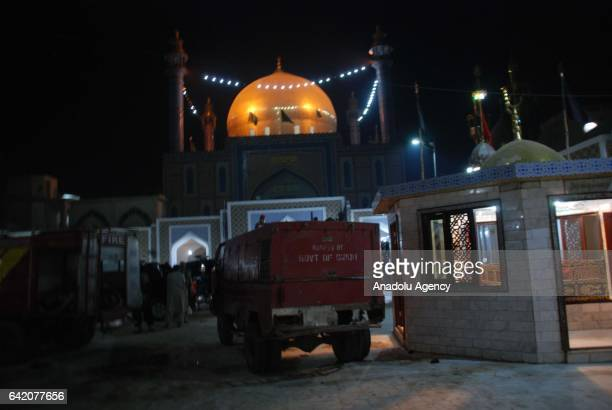 A fire engire is seen at the site of a suicide attack at the 13th century old shrine of a Muslim saint in the town of Sehwan in southern Sindh...