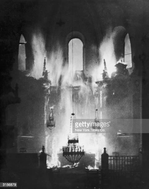 Fire engulfs a Spanish cathedral during the Spanish Civil War circa 1937