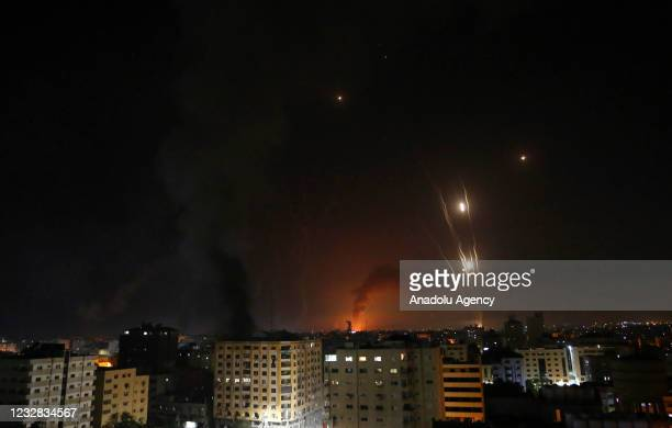 Fire erupts at Energy facility in Ashkelon city after it was hit by rockets fired from Gaza in response to Israeli airstrikes on the Gaza Strip, on...