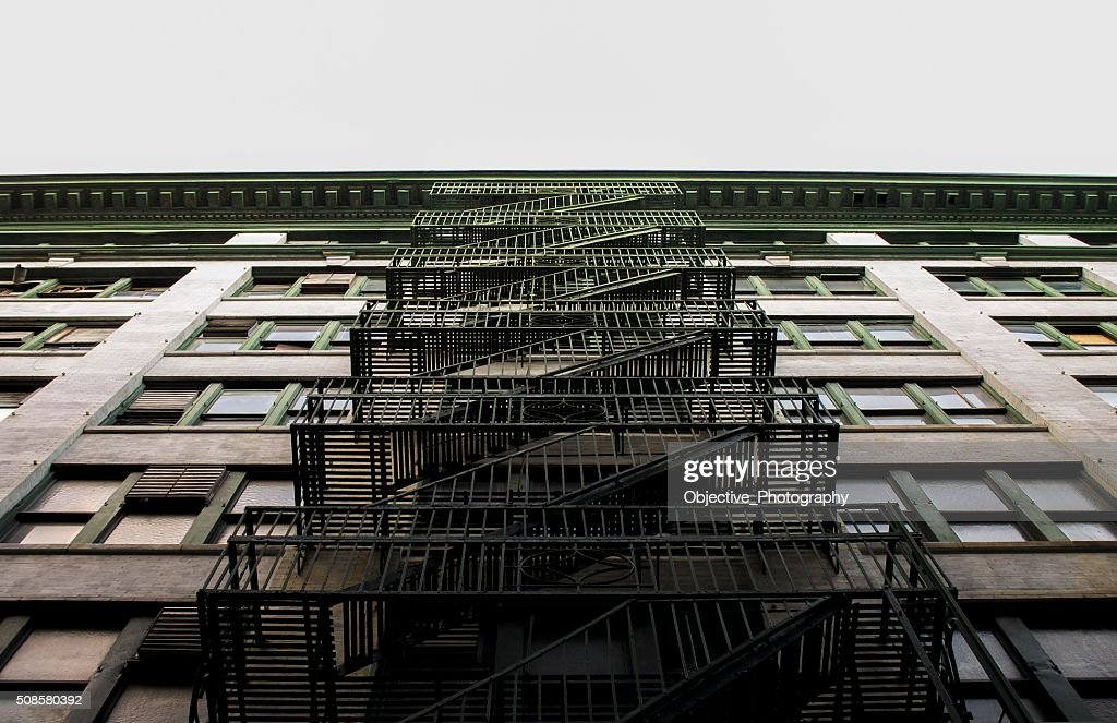 fire escape look up : Stock Photo