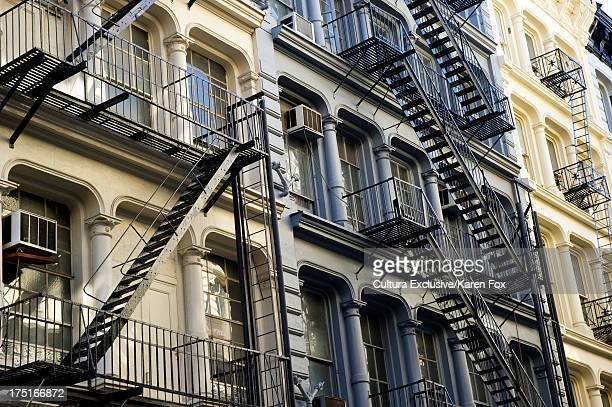Fire escapes in SoHo, Manhattan, New York City, USA