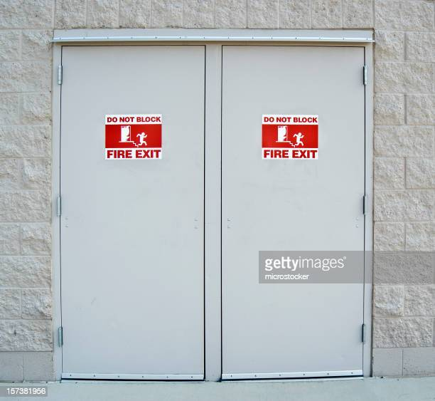 Fire Exit Doors with International Emergency  Pictogram Symbol