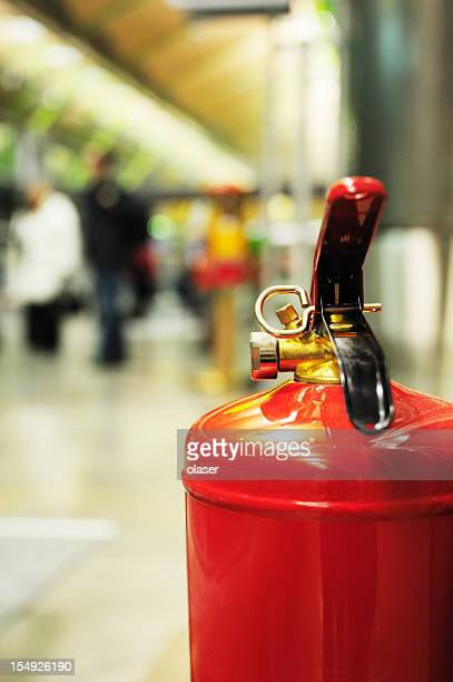 Fire extinguisher in airport terminal building