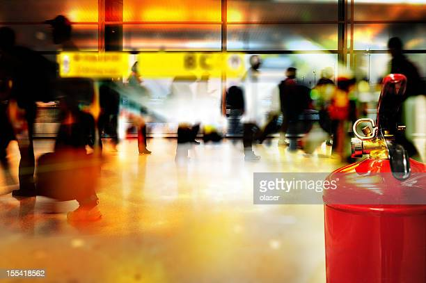fire extinguisher in airport terminal building - fire extinguisher stock photos and pictures