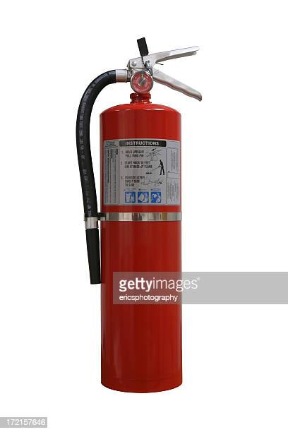 extintor de incêndio no fundo branco. - extintor de incêndio - fotografias e filmes do acervo