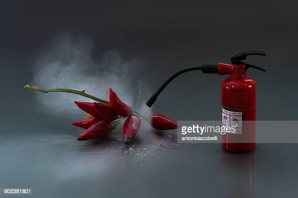 Fire extinguisher putting out red hot chilis