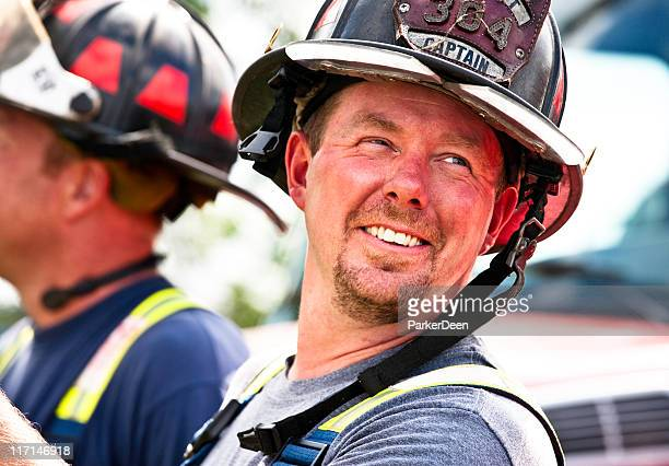 Fire Fighter Takes a Break While Working