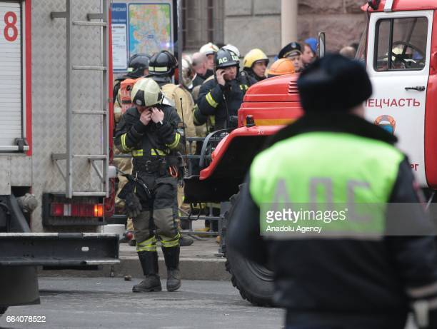 Fire fighters are dispatched after an explosion at a subway station in St Petersburg Russia on April 3 2017 At least 10 people were killed on the...