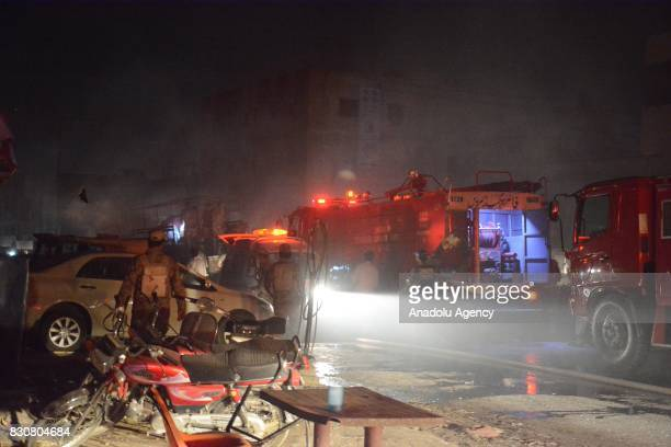 Fire fighters arrive the site after powerful blast struck a military vehicle at a busy street in Quetta the capital of southwestern Balochistan...