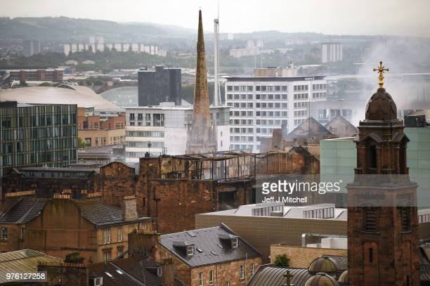 Fire fighters battle a blaze at the Glasgow School of Art for the second time in four years on June 16 Glasgow Scotland In May 2014 it was devastated...