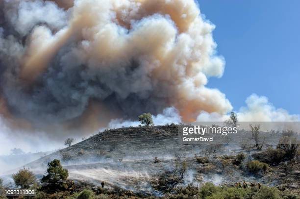 fire fighters fighting wildfire - california wildfire stock pictures, royalty-free photos & images