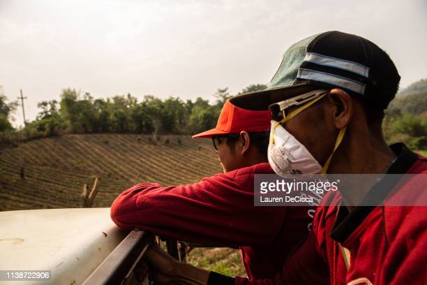 Fire Fighters from Doi Mae Salong Station drive back to their station after a long day of work on April 20 2019 in Chiang Rai Thailand Thailand's...