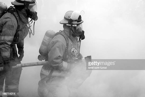 Fire fighters in action in Woodland, Washington