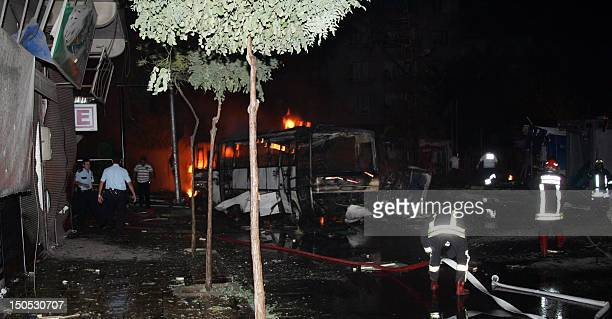 Fire fighters work in Gaziantep where at least seven people were killed and dozens wounded when a car bomb blew up on August 20 2012 in the centre of...