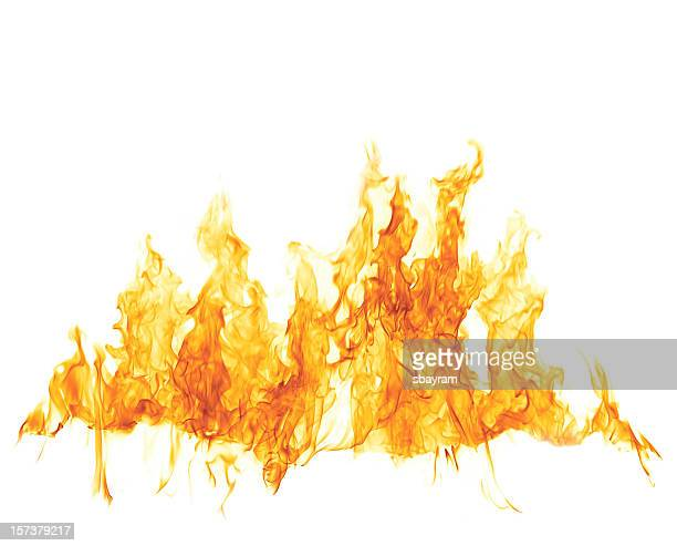 fire flame on white - white background stockfoto's en -beelden